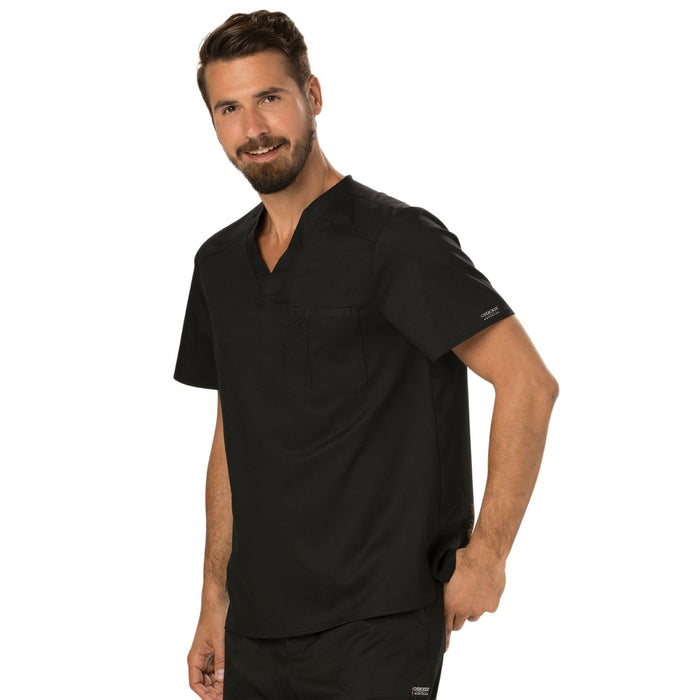 Cherokee Workwear Revolution WW690 Scrubs Top Men's V-Neck Black 4XL