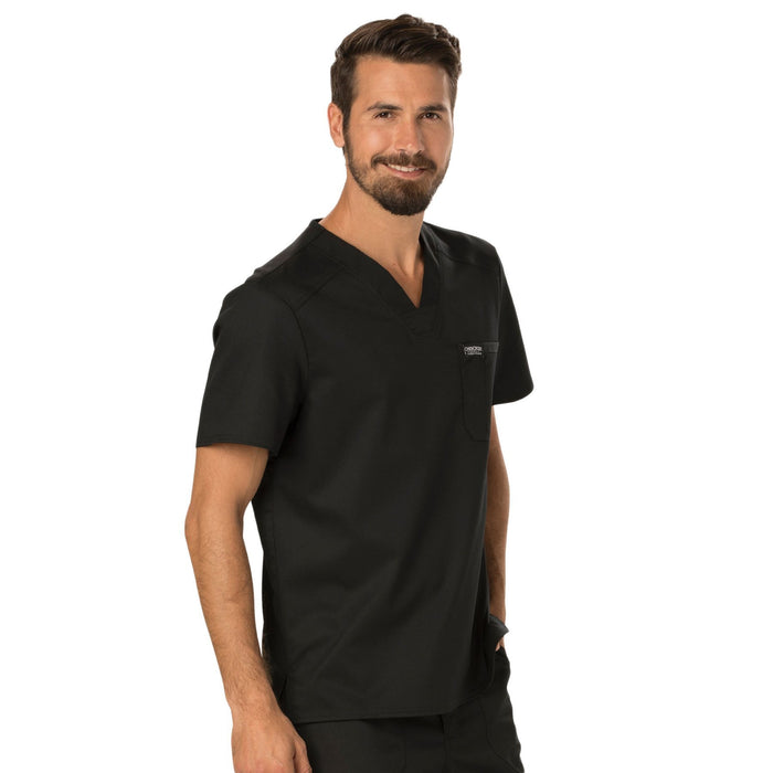 Cherokee Workwear Revolution WW690 Scrubs Top Men's V-Neck Black 5XL