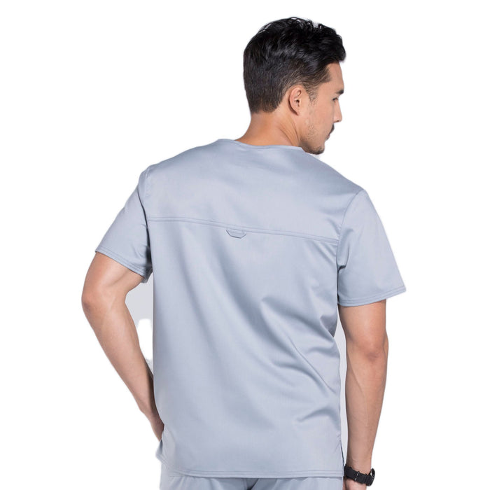 Cherokee Workwear Revolution WW690 Scrubs Top Men's V-Neck Grey 3XL