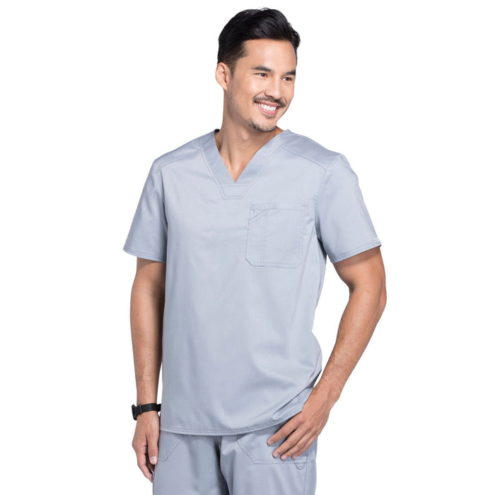 Cherokee Workwear Revolution WW690 Scrubs Top Men's V-Neck Grey 4XL