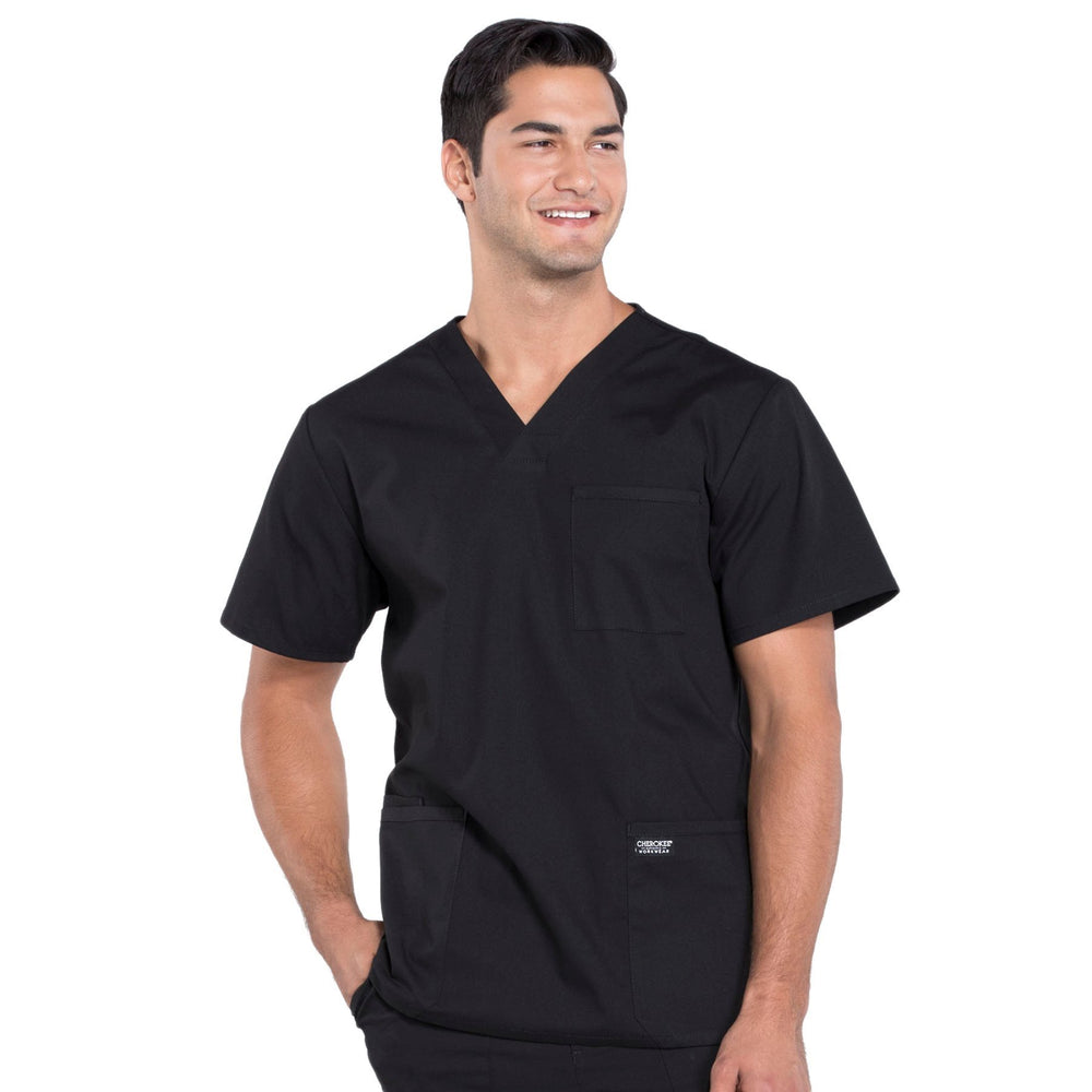 Cherokee Workwear Professionals WW695 Scrubs Top Men's V-Neck Black
