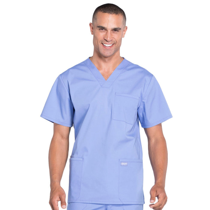 Cherokee Workwear Professionals WW695 Scrubs Top Men's V-Neck Ciel Blue