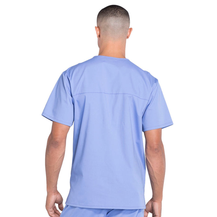 Cherokee Workwear Professionals WW695 Scrubs Top Men's V-Neck Ciel Blue 4XL