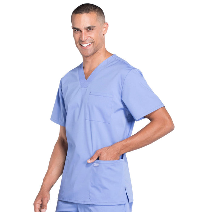 Cherokee Workwear Professionals WW695 Scrubs Top Men's V-Neck Ciel Blue 5XL