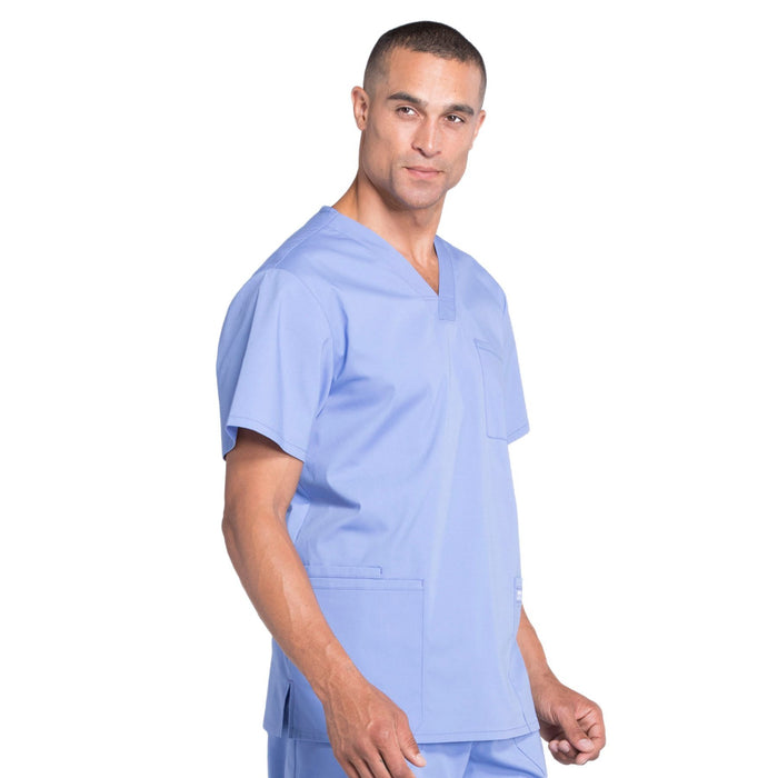 Cherokee Workwear Professionals WW695 Scrubs Top Men's V-Neck Ciel Blue L