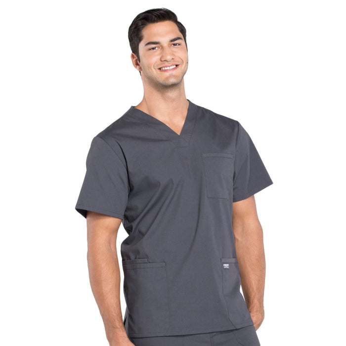 Cherokee Workwear Professionals WW695 Scrubs Top Men's V-Neck Pewter 5XL