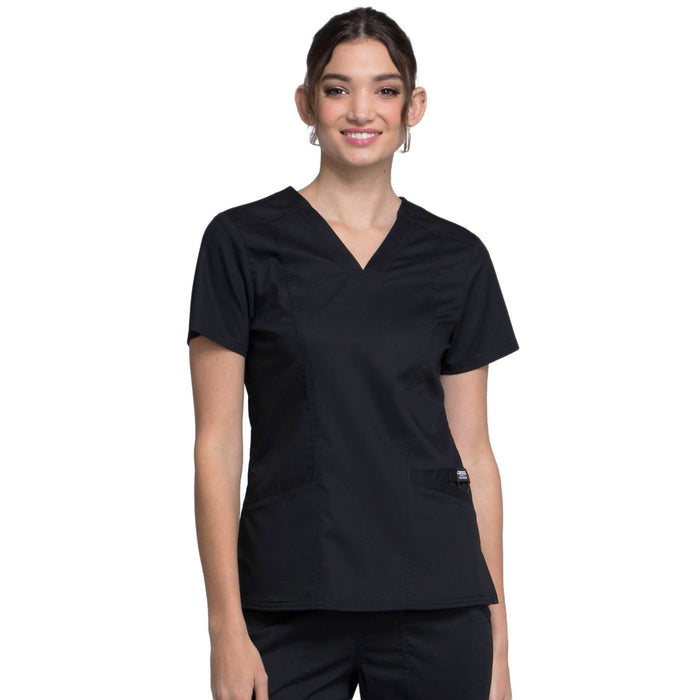 Cherokee Workwear Revolution WW710 Scrubs Top Women's V-Neck Black