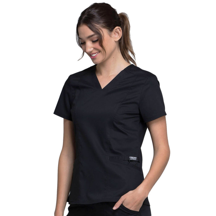 Cherokee Workwear Revolution WW710 Scrubs Top Women's V-Neck Black L