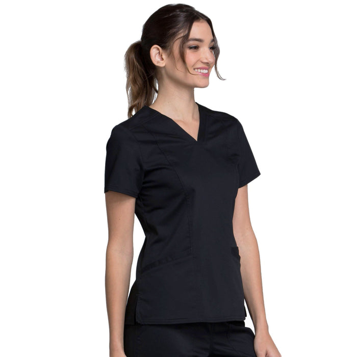 Cherokee Workwear Revolution WW710 Scrubs Top Women's V-Neck Black M