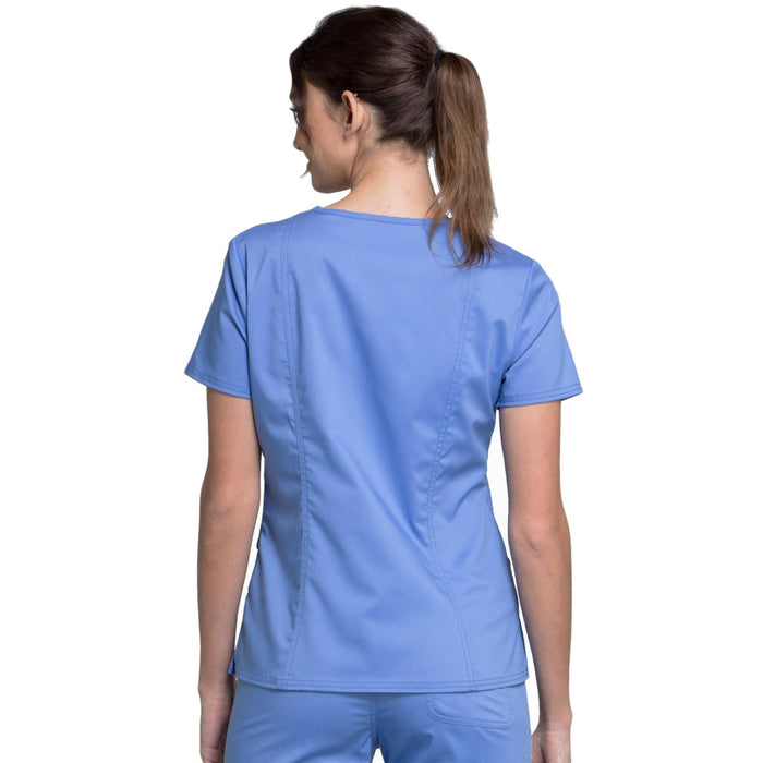 Cherokee Workwear Revolution WW710 Scrubs Top Women's V-Neck Ciel Blue 3XL