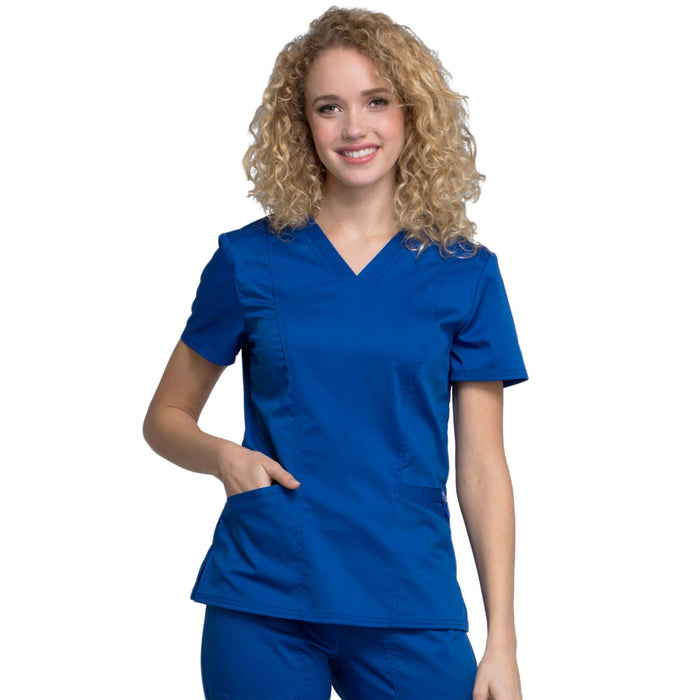 Cherokee Workwear Revolution WW710 Scrubs Top Women's V-Neck Galaxy Blue