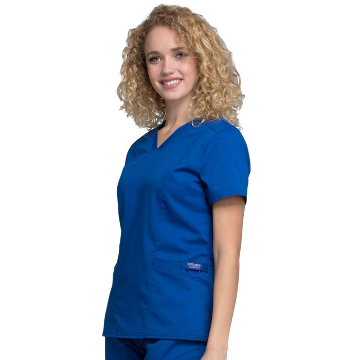 Cherokee Workwear Revolution WW710 Scrubs Top Women's V-Neck Galaxy Blue L