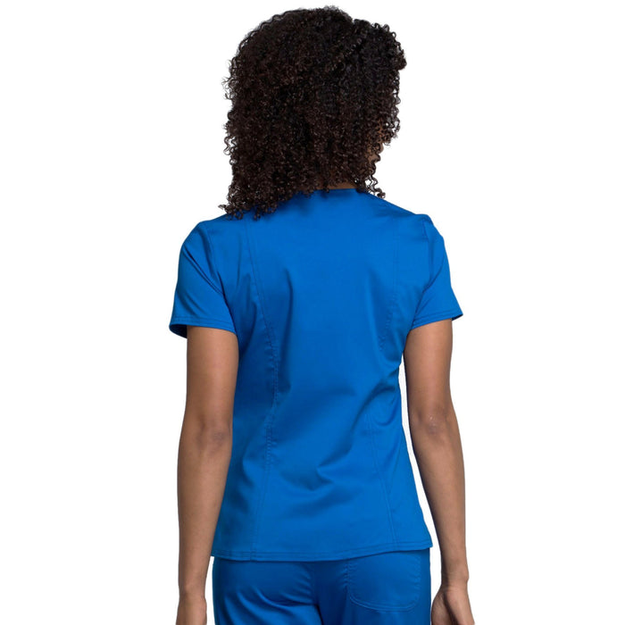 Cherokee Workwear Revolution WW710 Scrubs Top Women's V-Neck Royal 3XL