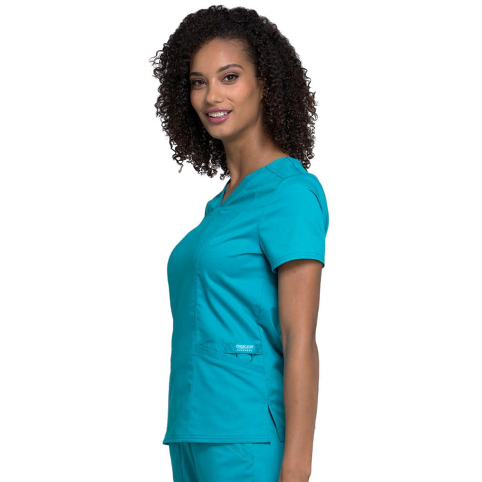 Cherokee Workwear Revolution WW710 Scrubs Top Women's V-Neck Teal Blue L