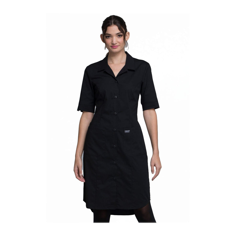 Cherokee Workwear Dress WW Professionals Button Front Dress Black Dress
