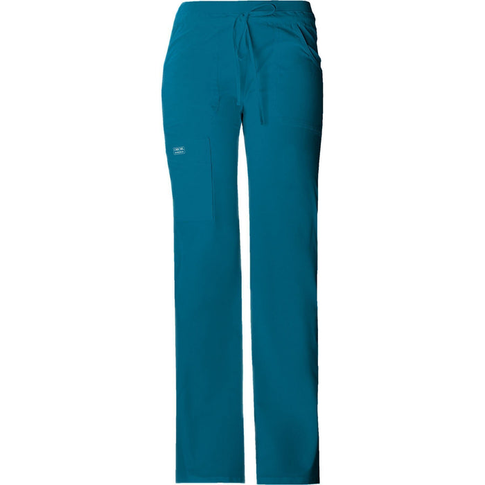 Cherokee Workwear Pant WW Core Stretch Contemporary Fit Low Rise Drawstring Cargo Pant Caribbean Blue Pant
