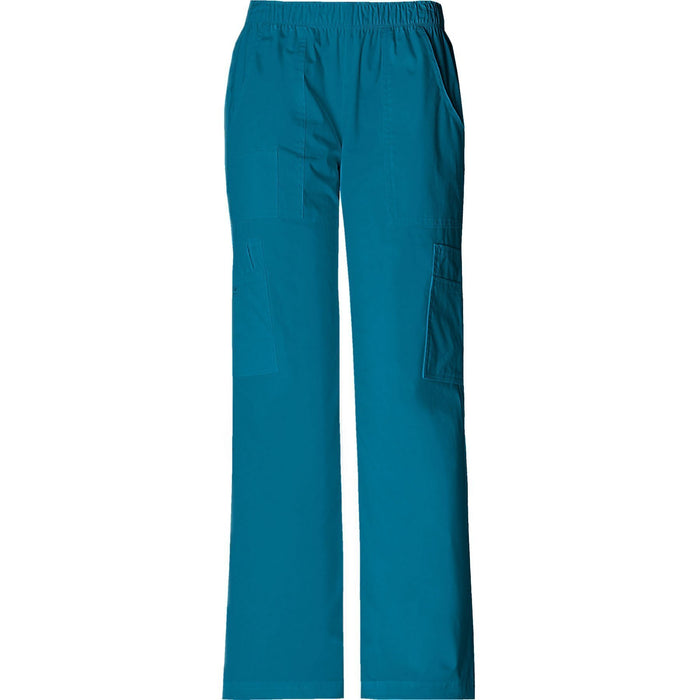 Cherokee Workwear Pant WW Core Stretch Mid Rise Pull-On Pant Cargo Pant Caribbean Blue Pant