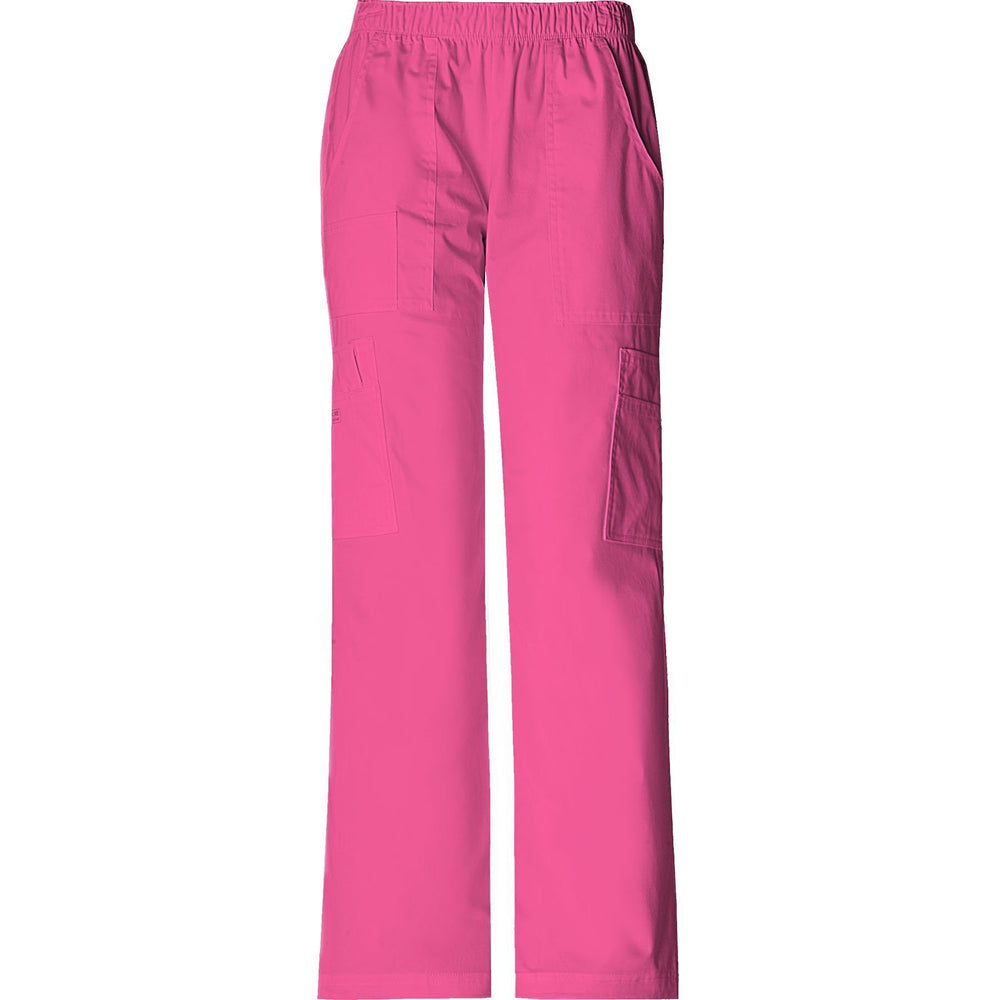 Cherokee Workwear Pant WW Core Stretch Mid Rise Pull-On Pant Cargo Pant Shocking Pink Pant