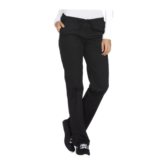 Cherokee Workwear Pant WW Core Stretch Mid Rise Straight Leg Drawstring Pant Black Pant