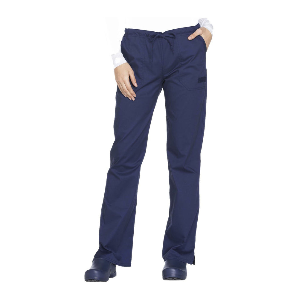 Cherokee Workwear Pant WW Core Stretch Mid Rise Straight Leg Drawstring Pant Navy Pant