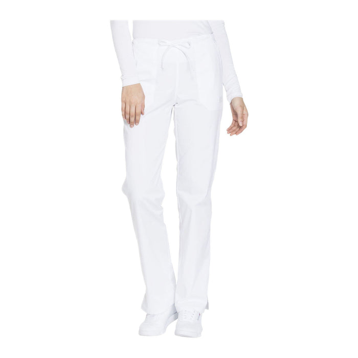 Cherokee Workwear Pant WW Core Stretch Mid Rise Straight Leg Drawstring Pant White Pant