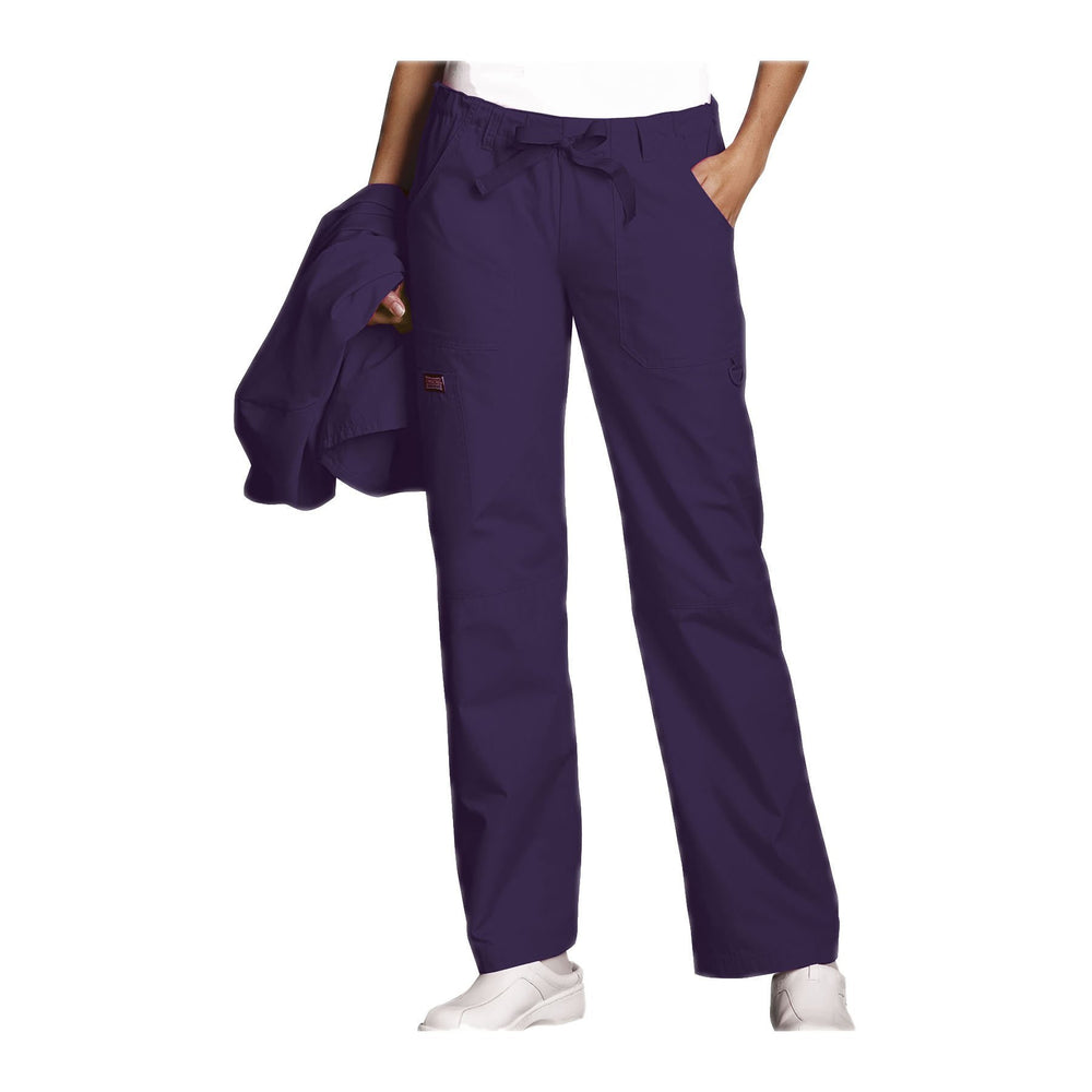 Cherokee Workwear Pant WW Low Rise Drawstring Cargo Pant Eggplant Pant