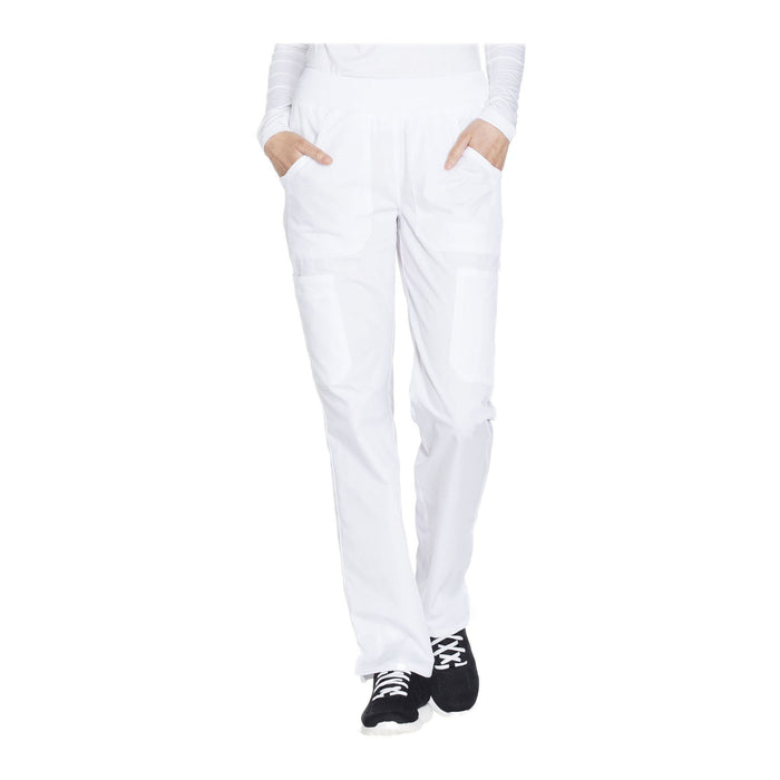 Cherokee Workwear Pant WW Mid Rise Straight Leg Pull-on Cargo Pant White Pant