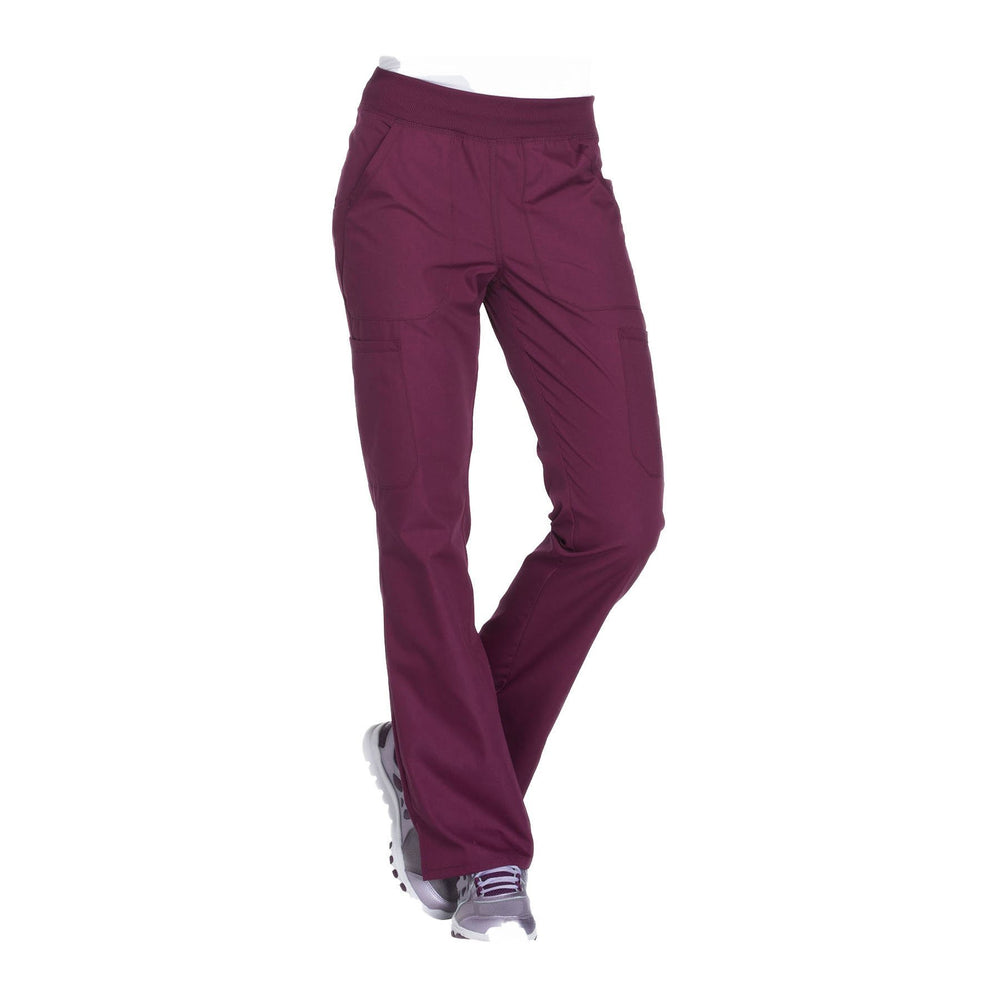 Cherokee Workwear Pant WW Mid Rise Straight Leg Pull-on Cargo Pant Wine Pant