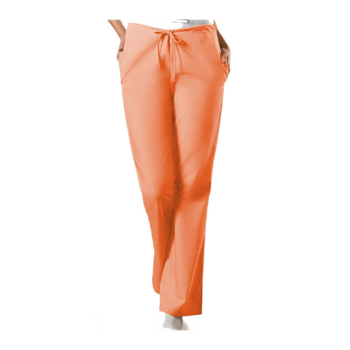 Cherokee Workwear Pant WW Natural Rise Flare Leg Drawstring Pant Orange Sorbet Pant