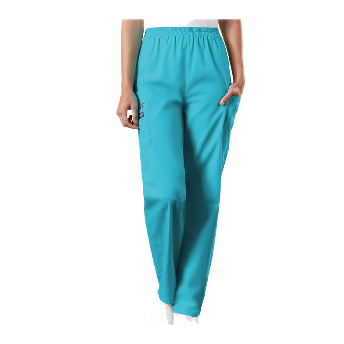 Cherokee Workwear Pant WW Natural Rise Tapered Pull-On Cargo Pant Turquoise Pant