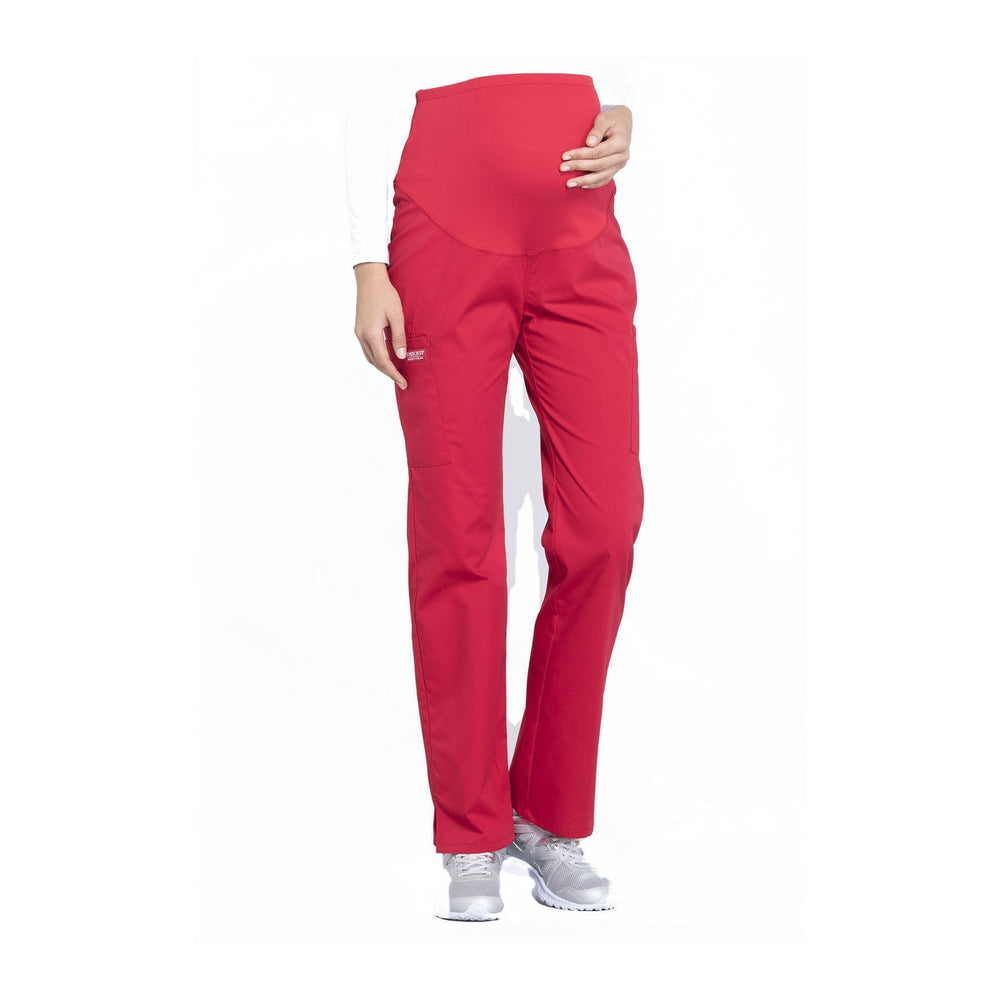 Cherokee Workwear Pant WW Professionals Maternity Straight Leg Pant Red Pant