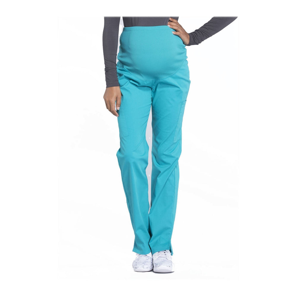 Cherokee Workwear Pant WW Professionals Maternity Straight Leg Pant Teal Pant