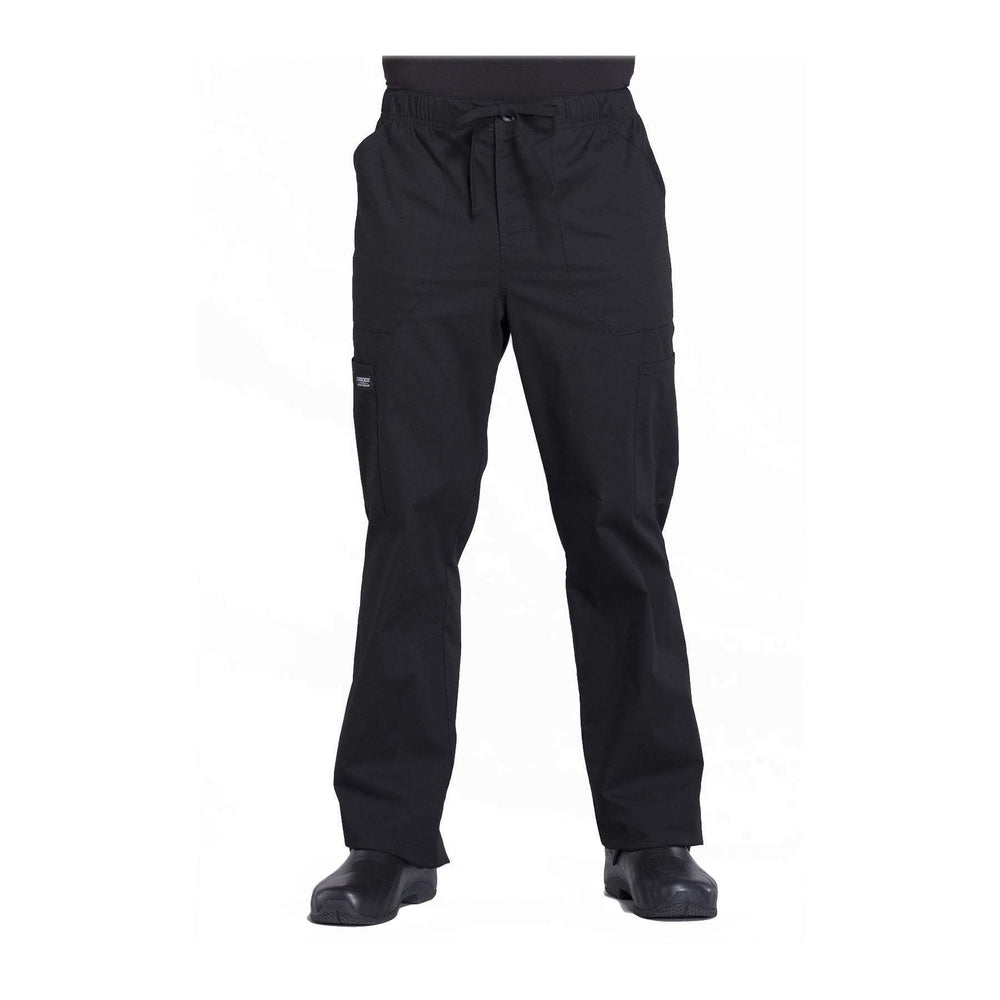 Cherokee Workwear Pant WW Professionals Mens Men's Tapered Leg Drawstring Cargo Pant Black Pant