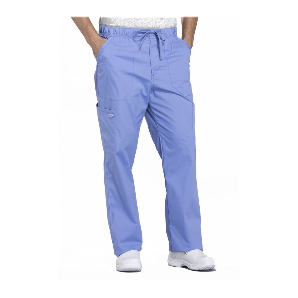 Cherokee Workwear Pant WW Professionals Mens Men's Tapered Leg Drawstring Cargo Pant Ciel Blue Pant