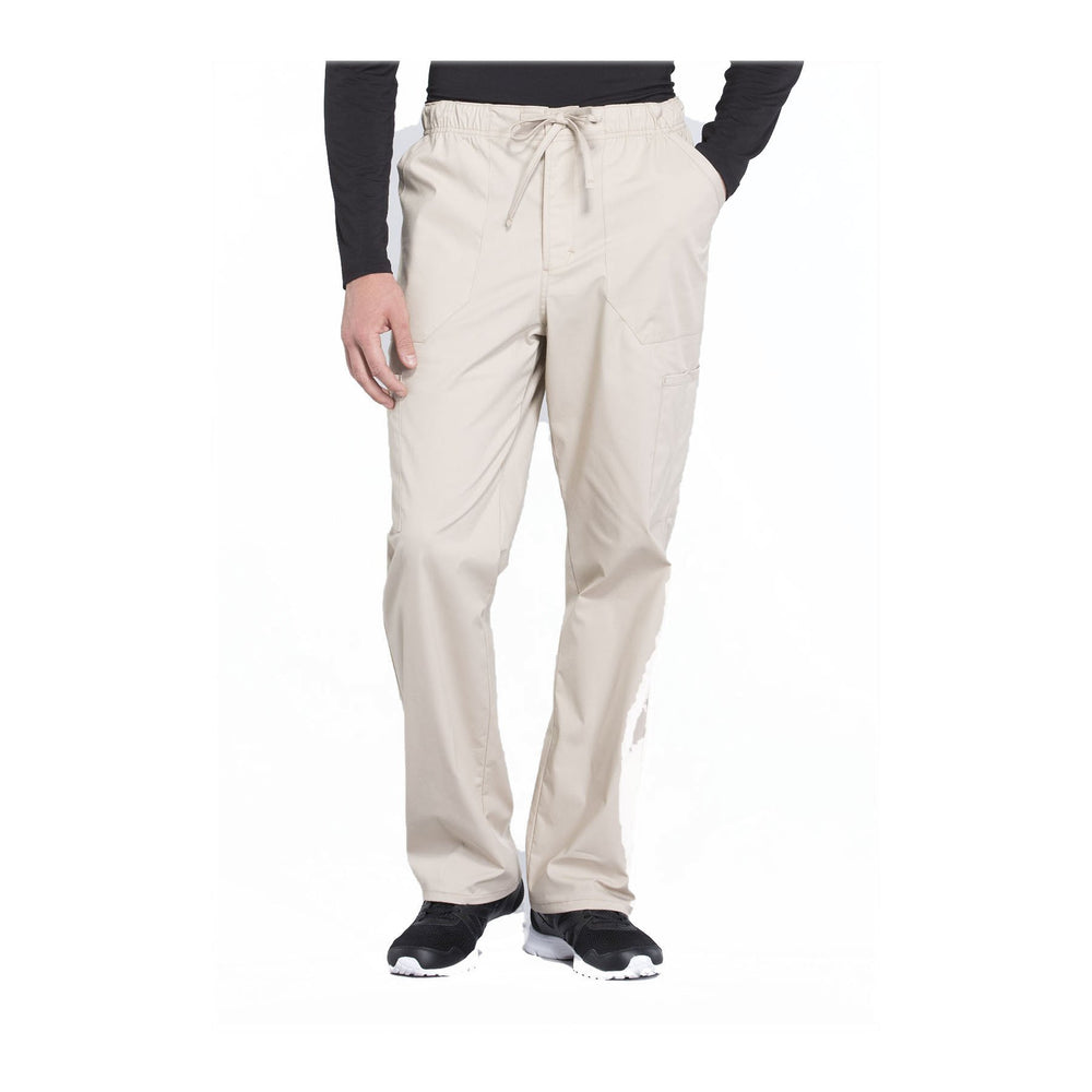 Cherokee Workwear Pant WW Professionals Mens Men's Tapered Leg Drawstring Cargo Pant Khaki Pant