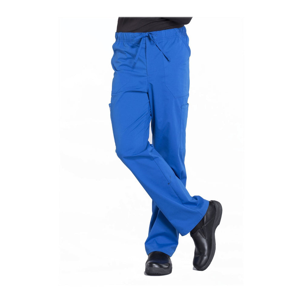 Cherokee Workwear Pant WW Professionals Mens Men's Tapered Leg Drawstring Cargo Pant Royal Pant