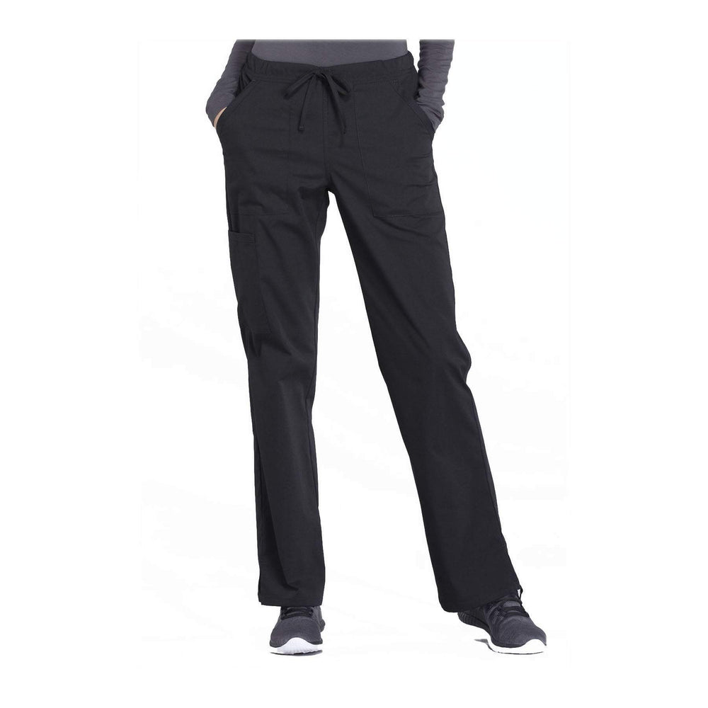 Cherokee Workwear Pant WW Professionals Mid Rise Straight Leg Drawstring Pant Black Pant