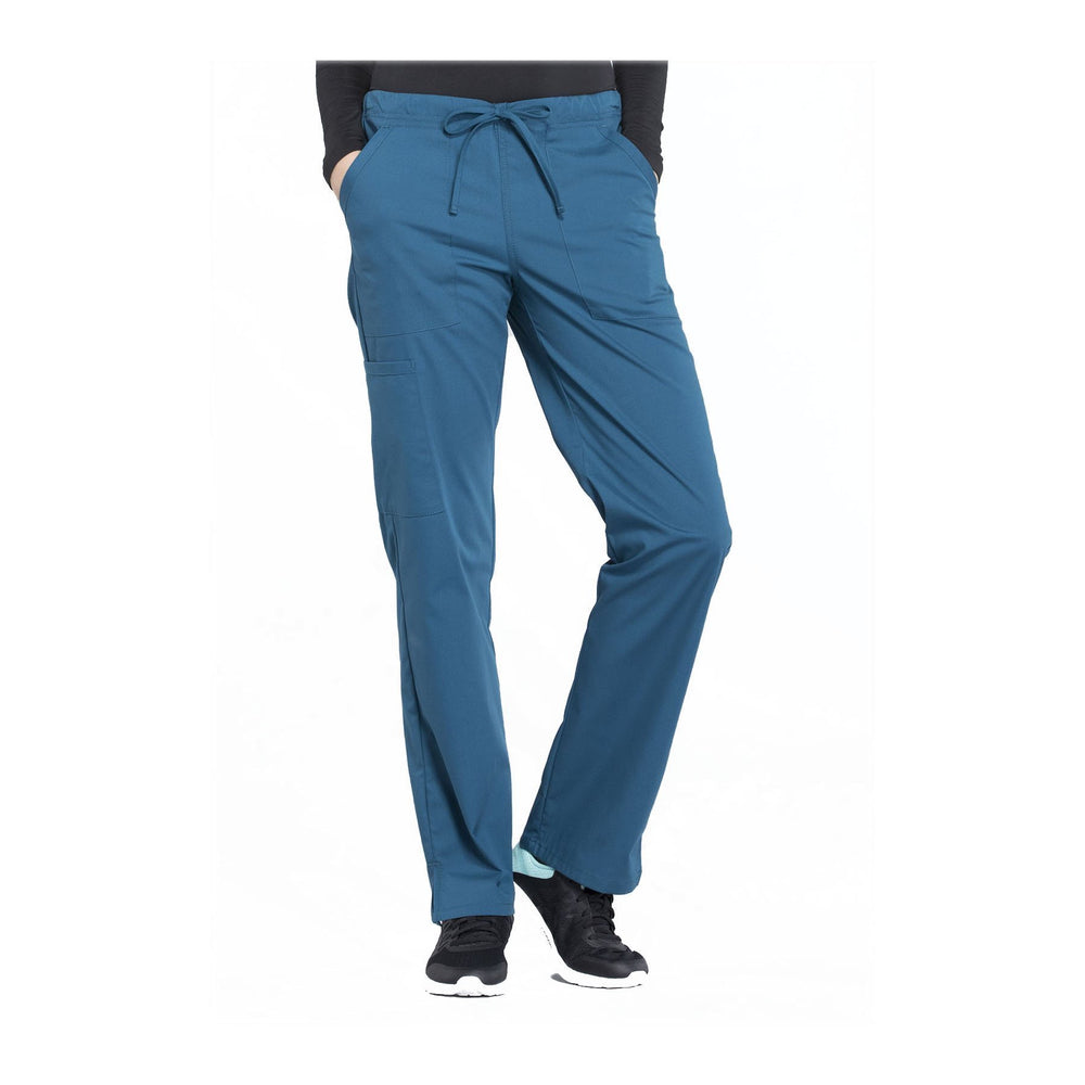 Cherokee Workwear Pant WW Professionals Mid Rise Straight Leg Drawstring Pant Caribbean Blue Pant