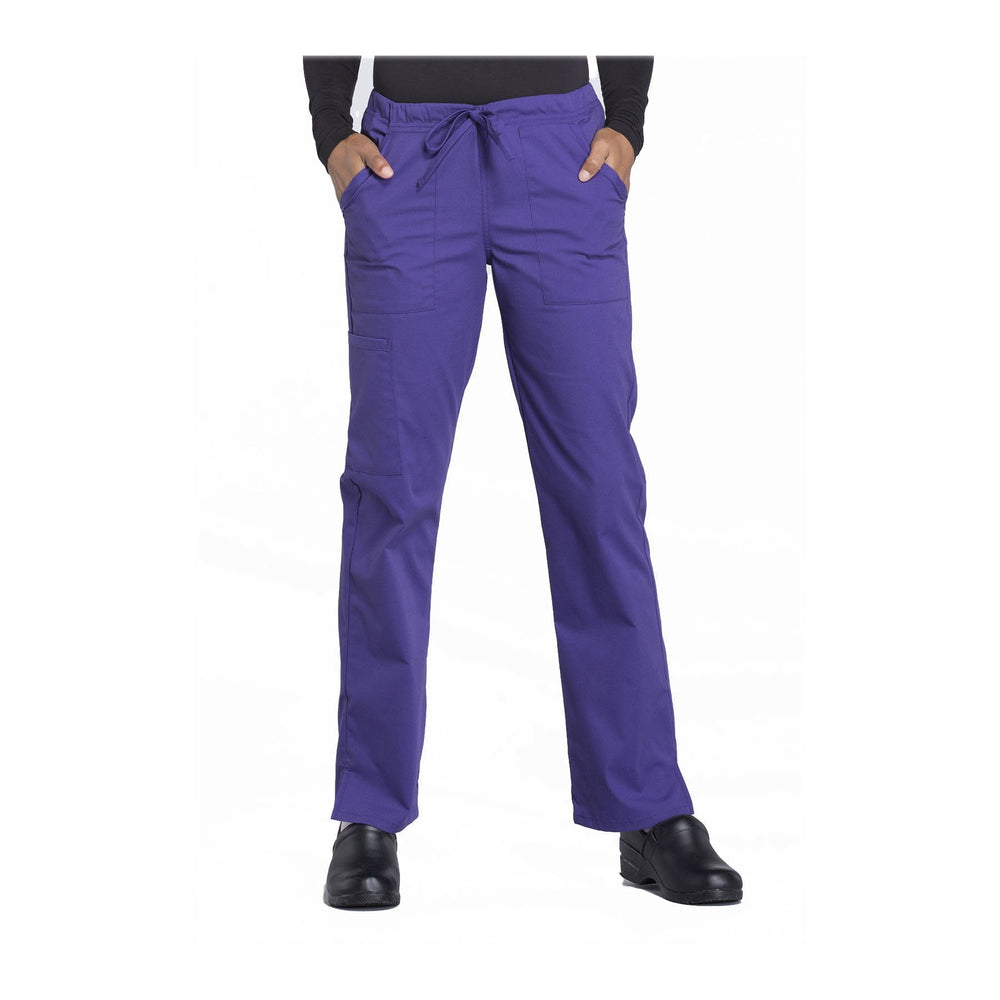 Cherokee Workwear Pant WW Professionals Mid Rise Straight Leg Drawstring Pant Grape Pant