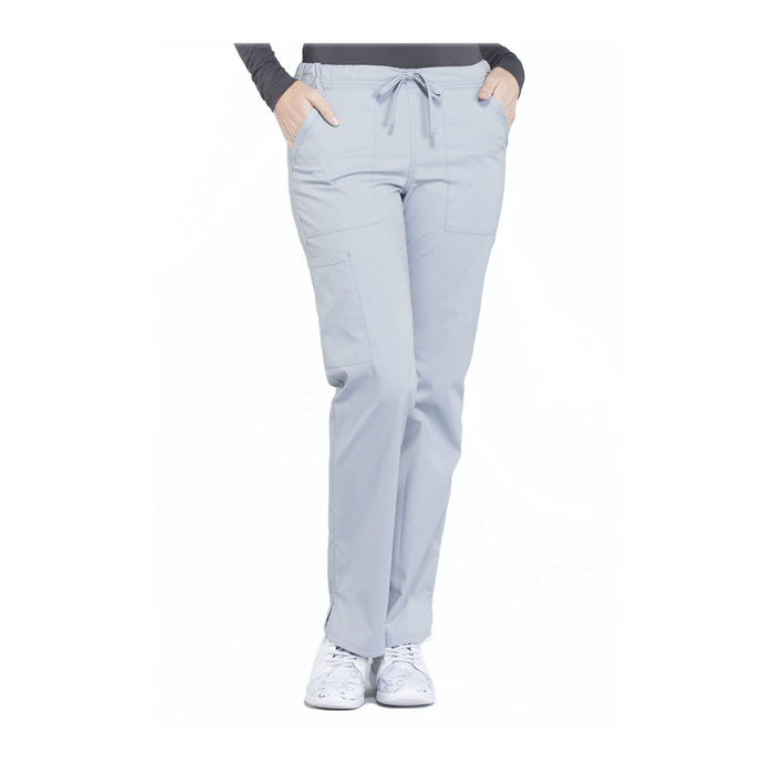 Cherokee Workwear Pant WW Professionals Mid Rise Straight Leg Drawstring Pant Grey Pant