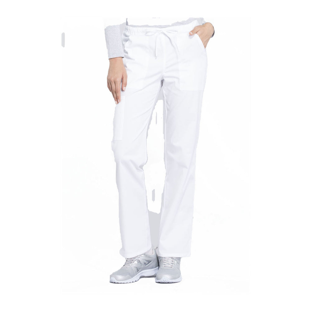 Cherokee Workwear Pant WW Professionals Mid Rise Straight Leg Drawstring Pant White Pant