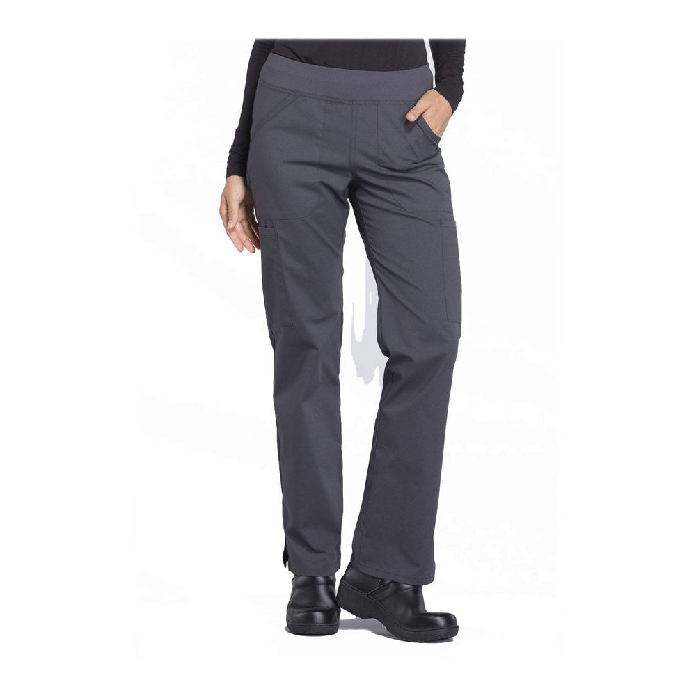 Cherokee Workwear Pant WW Professionals Mid Rise Straight Leg Pull-on Cargo Pant Pewter Pant
