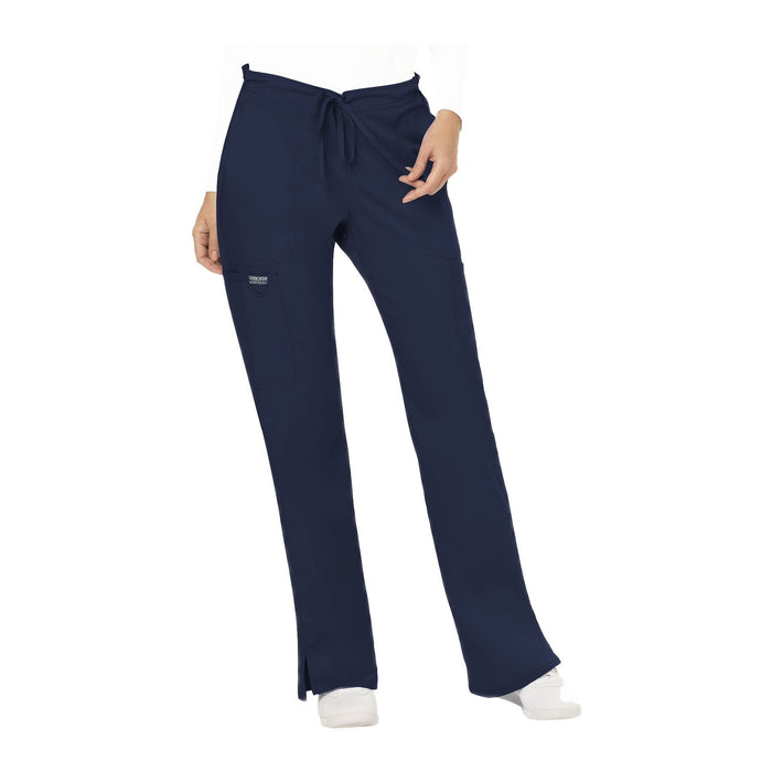Cherokee Workwear Pant WW Revolution Mid Rise Moderate Flare Drawstring Pant Navy Pant