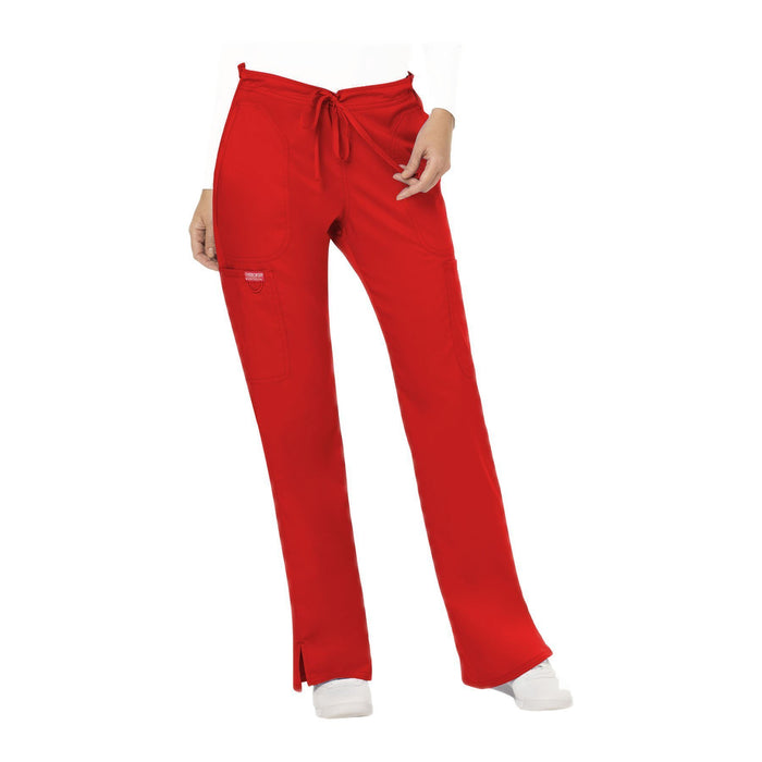 Cherokee Workwear Pant WW Revolution Mid Rise Moderate Flare Drawstring Pant Red Pant