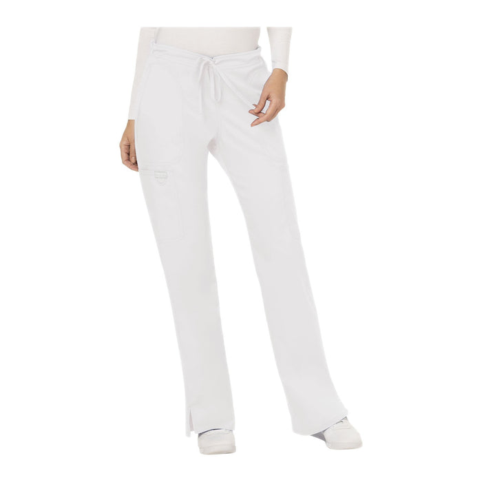 Cherokee Workwear Pant WW Revolution Mid Rise Moderate Flare Drawstring Pant White Pant