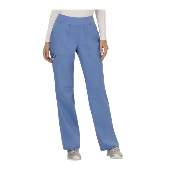 Cherokee Workwear Pant WW Revolution Mid Rise Straight Leg Pull-on Pant Ciel Blue Pant