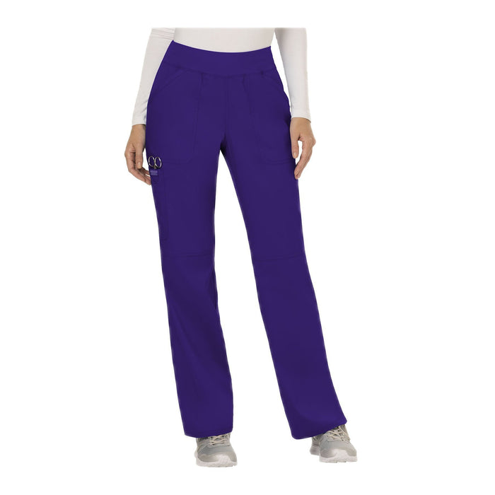 Cherokee Workwear Pant WW Revolution Mid Rise Straight Leg Pull-on Pant Grape Pant