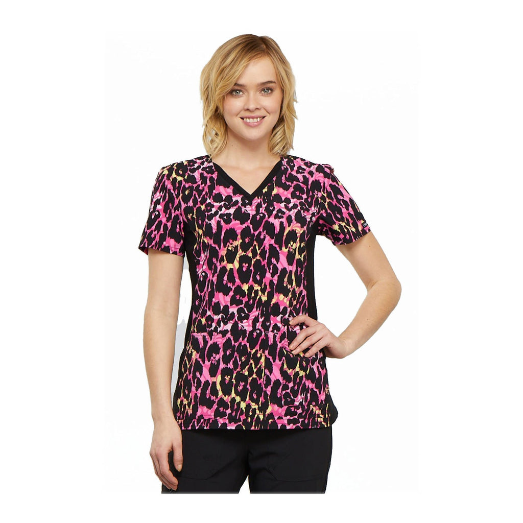 2205a0b8094 Cherokee Scrub Top Brilliantly Bold V-Neck Knit Panel Top Exotic  Purr-spective Top