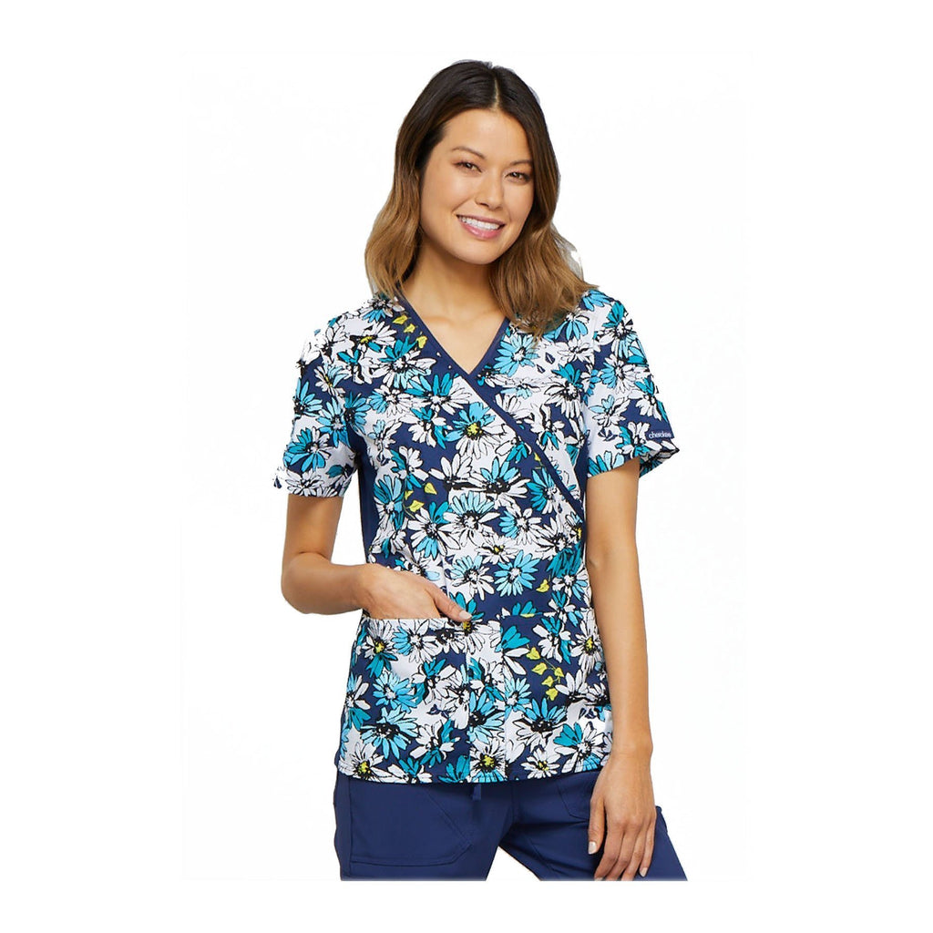 2558fe64458 Cherokee Scrub Top Cool As Can Be Mock Wrap Knit Panel Top Bold Blooms Top