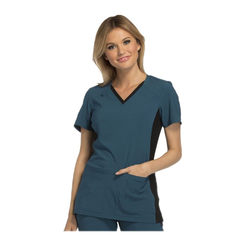 Cherokee Scrub Top iflex V-Neck Knit Panel Top Caribbean with Black Contrast Top